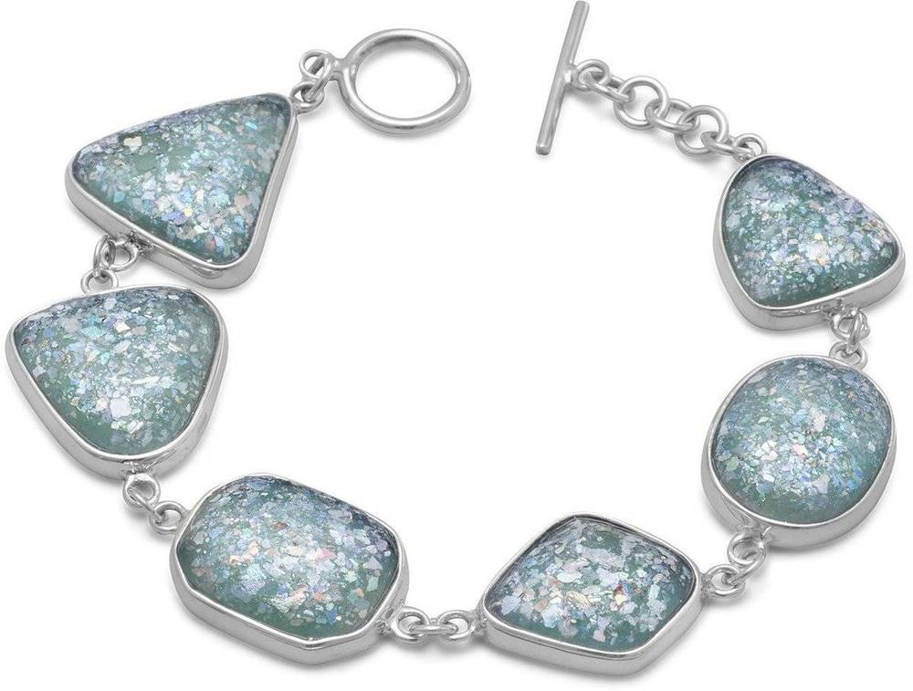 "7"" Roman Glass Toggle Bracelet 925 Sterling Silver"