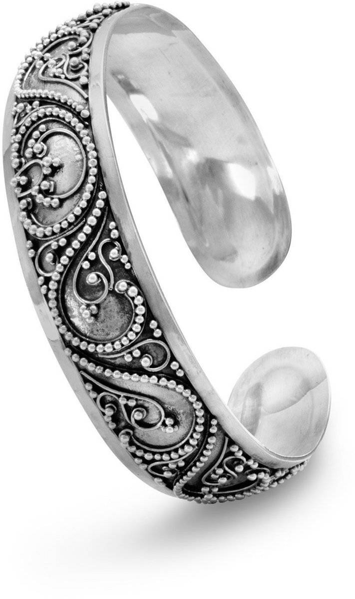 Cuff with Bead Filigree Design 925 Sterling Silver