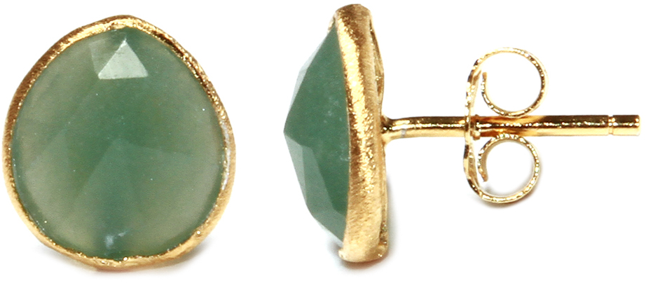 Gold Plated Sterling Silver Green Chalcedony Quartz Teardrop Stud Earrings