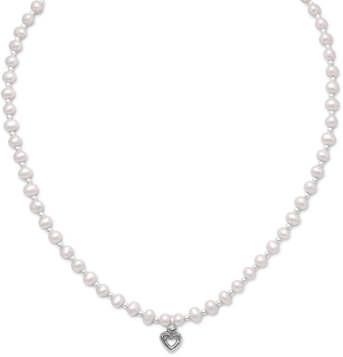 "13""+2"" Extension Cultured Freshwater Pearl/Silver Bead Necklace with Oxidized Heart 925 Sterling Silver"