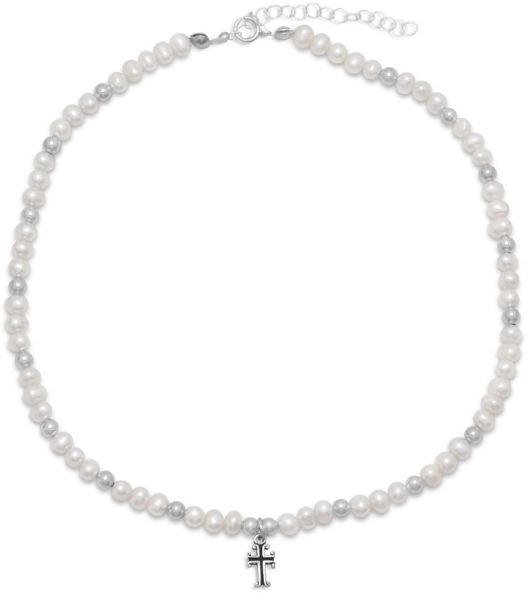 "13"" +2"" Extension  White Cultured Freshwater Pearl and Silver Bead Necklace with Cross Drop 925 Sterling Silver"