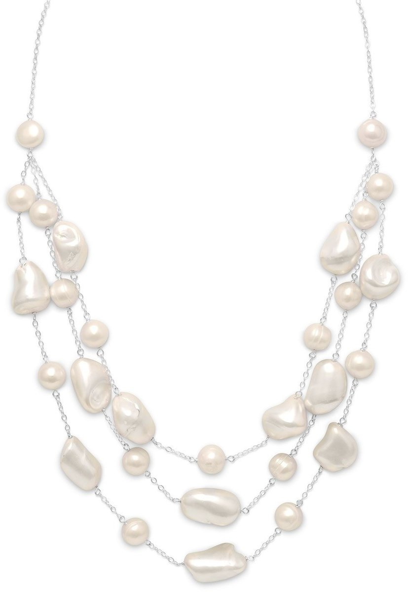 "16""+2""Extension Necklace with 3 Graduated Strands of Shell and Cultured Freshwater Pearl 925 Sterling Silver"