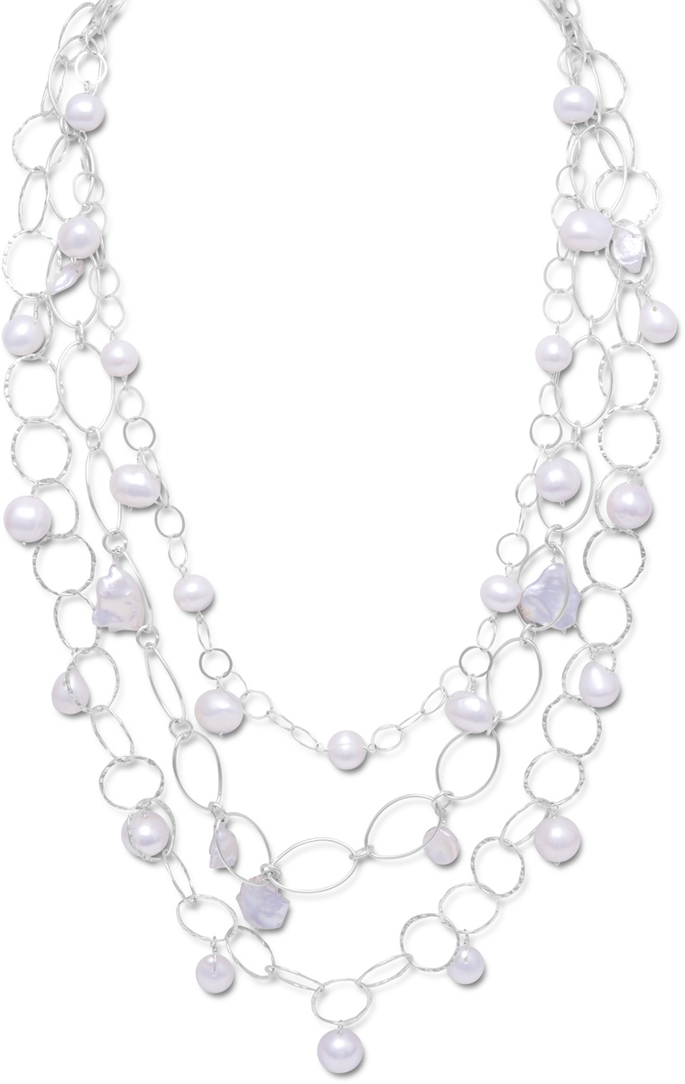 "17""+2""Extension Triple Graduated Strand Necklace with Cultured Freshwater Pearls 925 Sterling Silver"