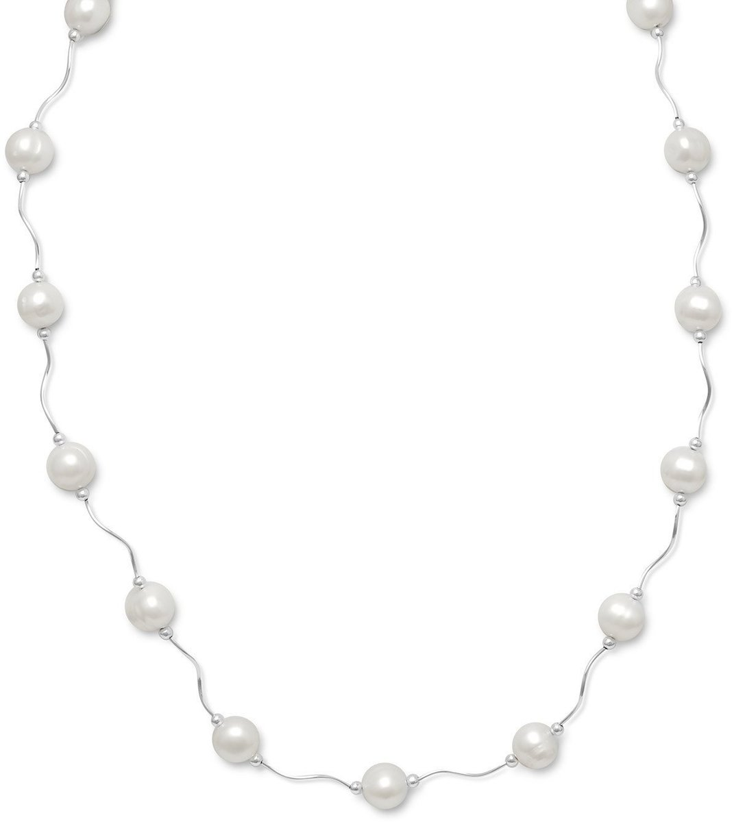 "17""+2""Extension Wave Design Tube Necklace with Cultured Freshwater Pearls 925 Sterling Silver"