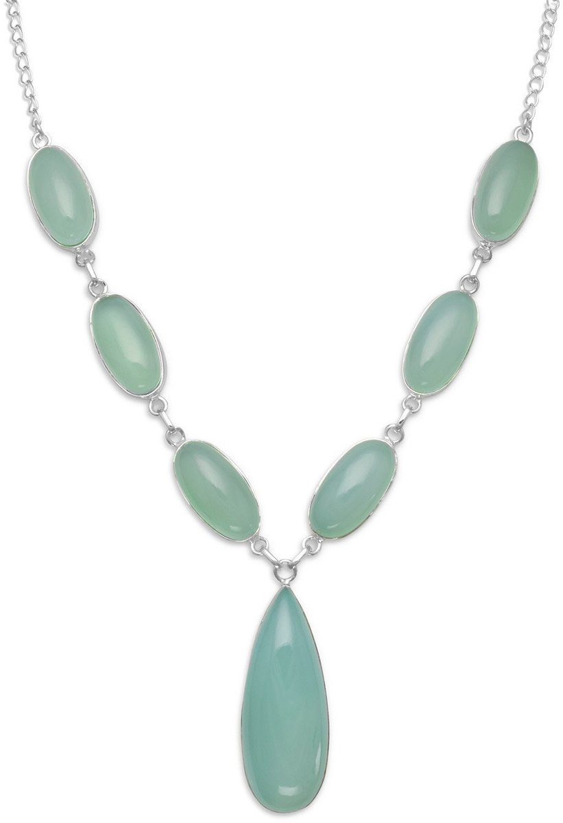 "17.5"" Chalcedony Necklace 925 Sterling Silver"
