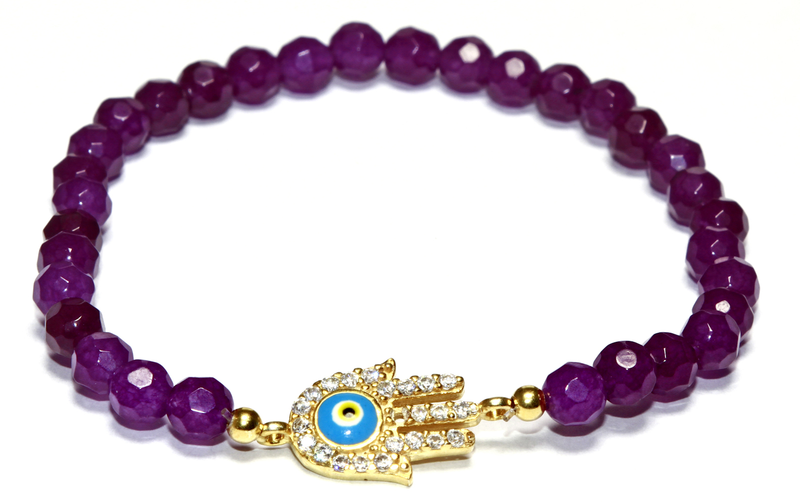 Gold Plated Sterling Silver Amethyst Light Blue Guardian Eye/Evil Eye Hamsa Bracelet