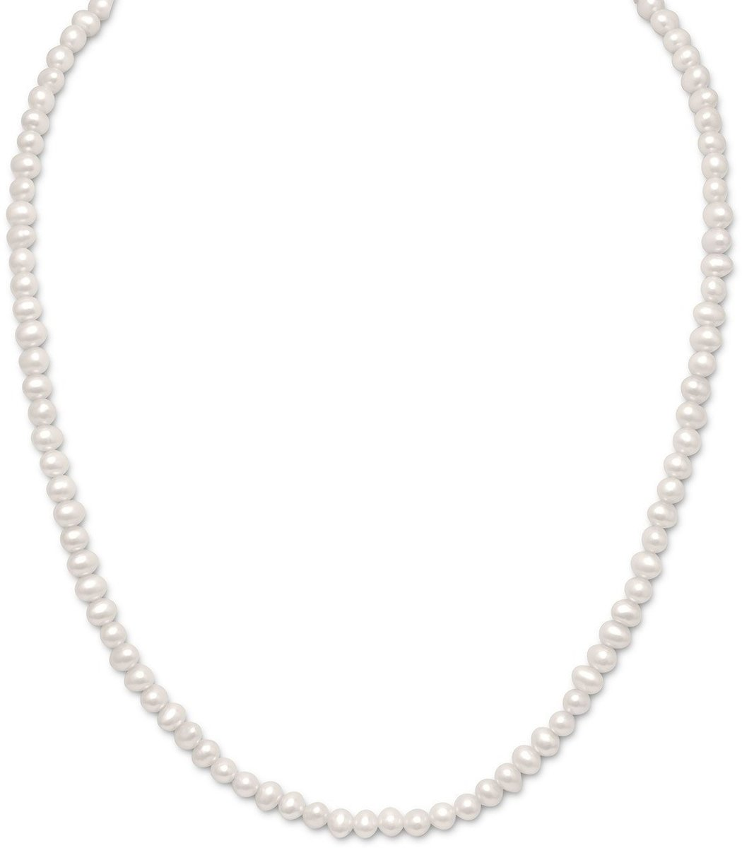 "15""+2""Extension White Cultured Freshwater Pearl Childrens Necklace 925 Sterling Silver"
