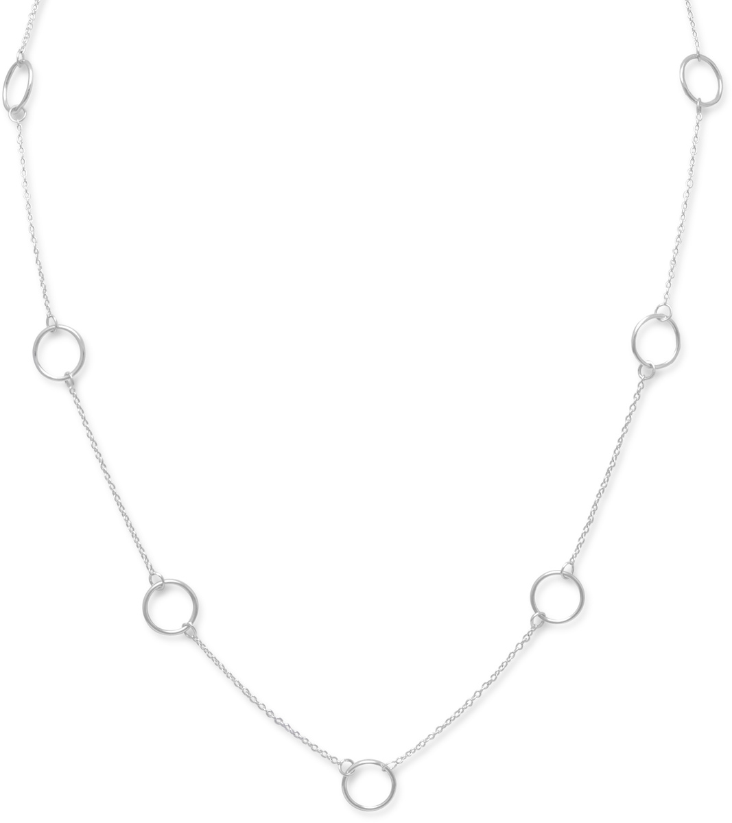 "16"" Sterling Silver Chain with Circle Links"