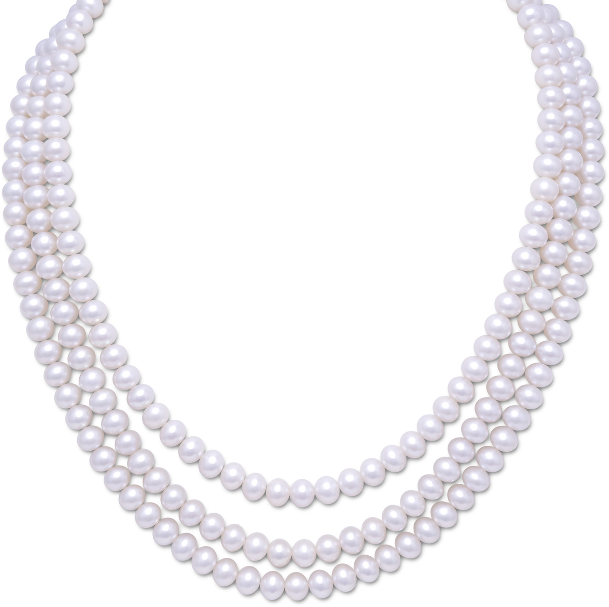 "15""-17""Triple Strand Cultured Freshwater Pearl Necklace 925 Sterling Silver"