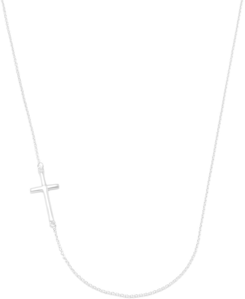 "16""+2"" Necklace with Off Center Cross 925 Sterling Silver"