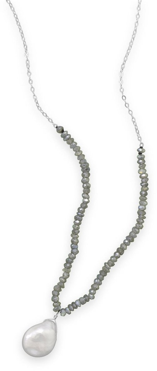 "16""+1"" Labradorite and Baroque Pearl Drop Necklace 925 Sterling Silver"