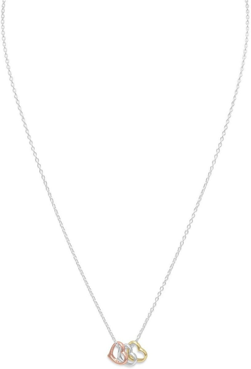 "16""+2"" Tri Tone Heart Necklace 925 Sterling Silver"