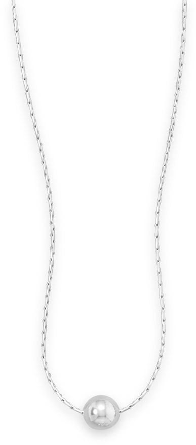 "16"" Rhodium Plated Necklace with Polished Bead 925 Sterling Silver"
