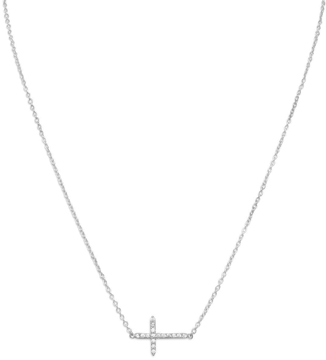 "16"" + 2"" Rhodium Plated CZ Sideways Cross Necklace 925 Sterling Silver"