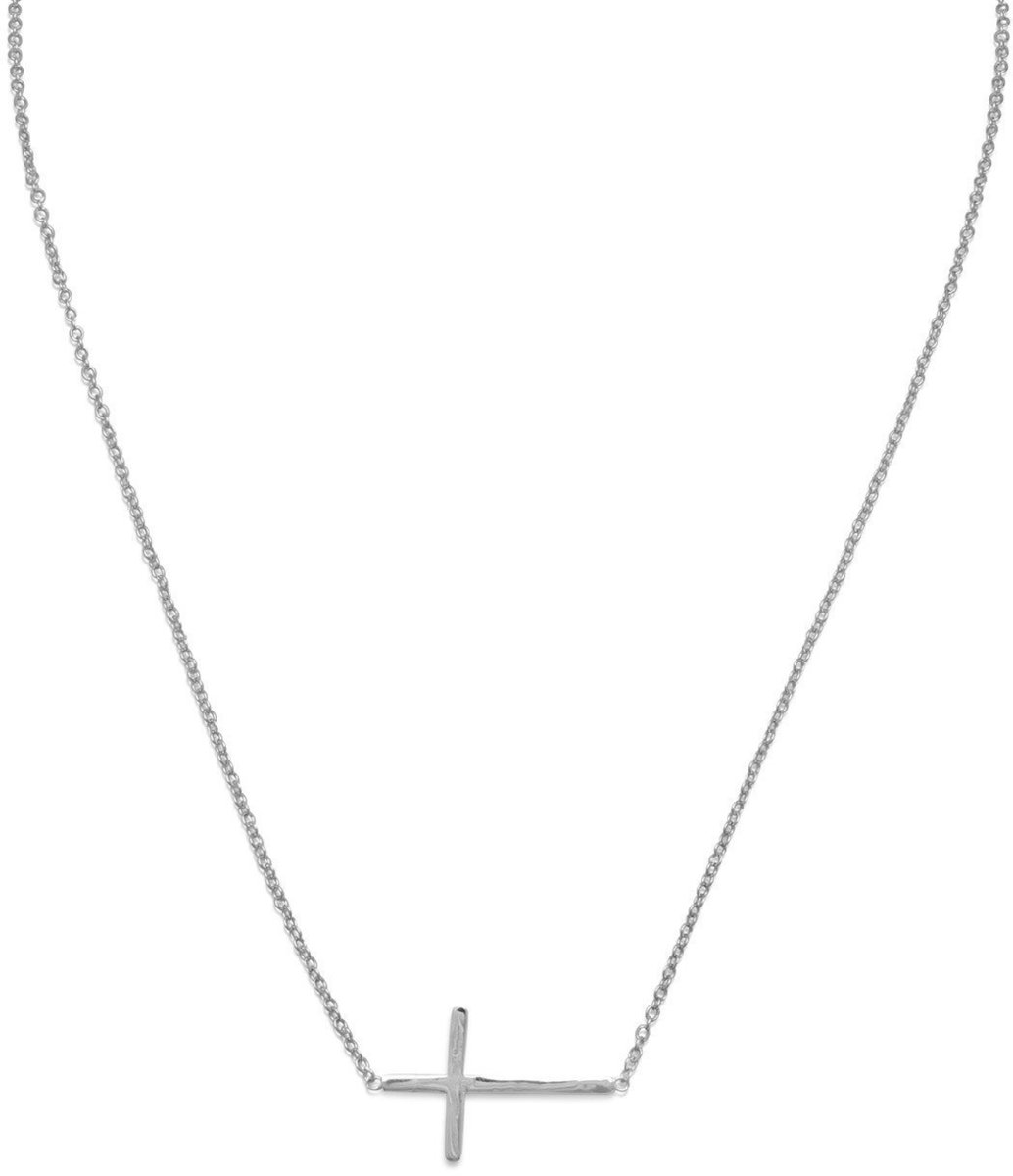 "16"" + 2"" Rhodium Plated Polished Sideways Cross Necklace 925 Sterling Silver"