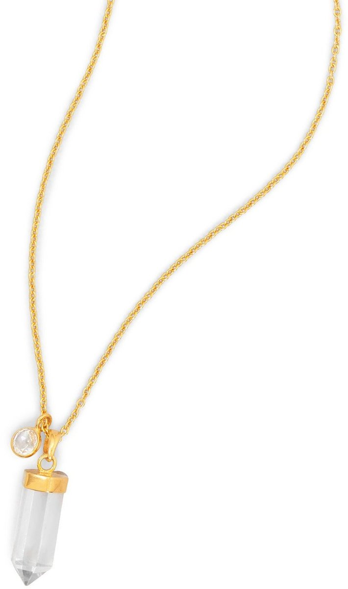 "18.5"" + 1.5"" 14 Karat Gold Plated Necklace with Clear Quartz Drop 925 Sterling Silver"