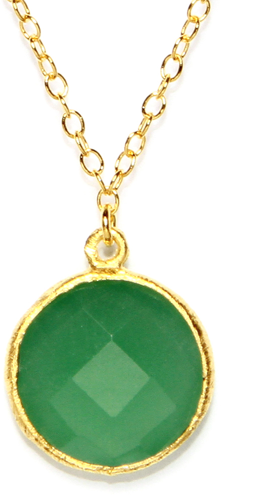 Gold Plated Sterling Silver Round Green Chalcedony Quartz Necklace