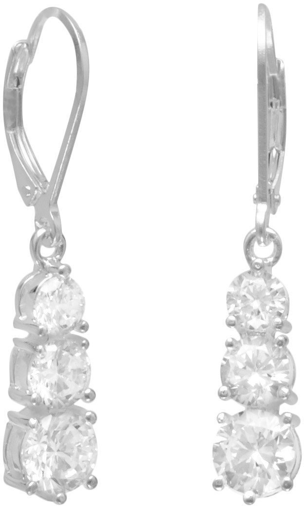 4/5/6mm CZ Lever Back Earrings 925 Sterling Silver