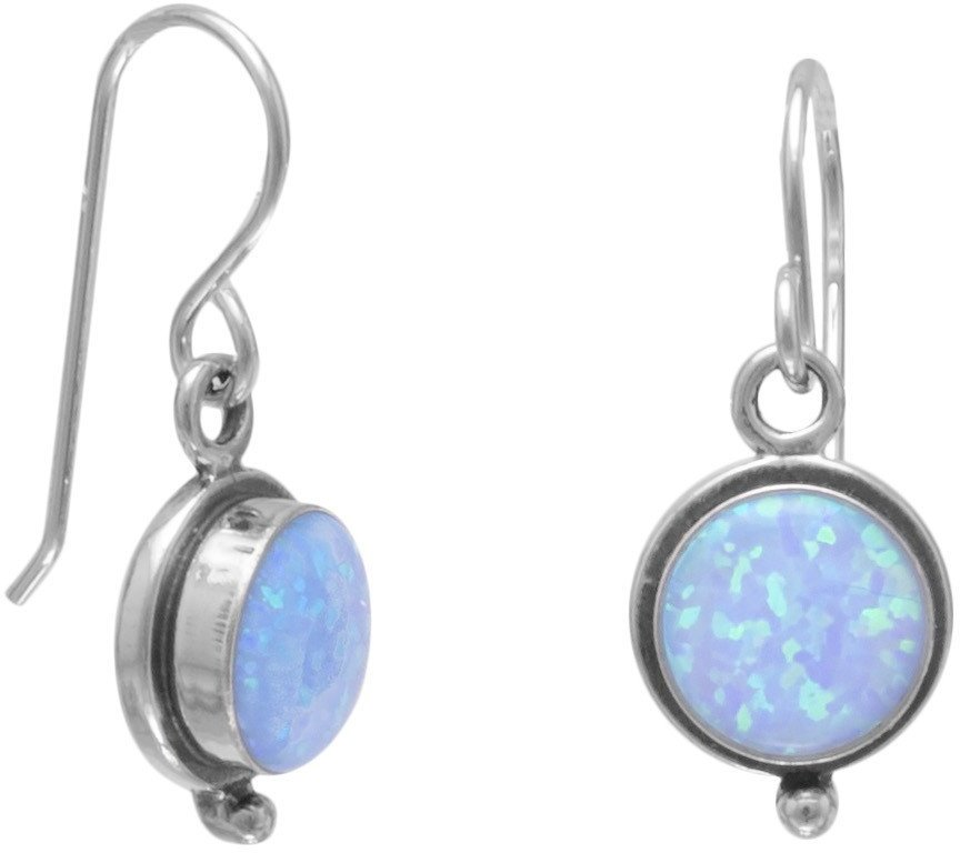 Round Synthetic Blue Opal Oxidized Earrings on French Wire 925 Sterling Silver