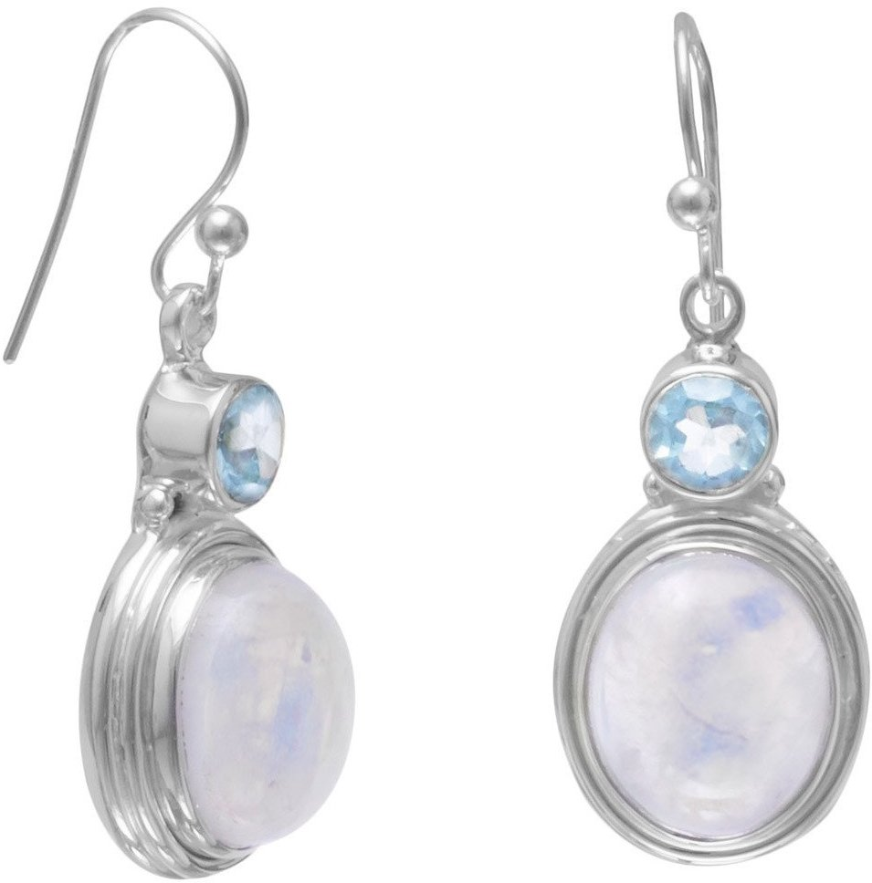 Faceted Blue Topaz/Moonstone Earrings 925 Sterling Silver