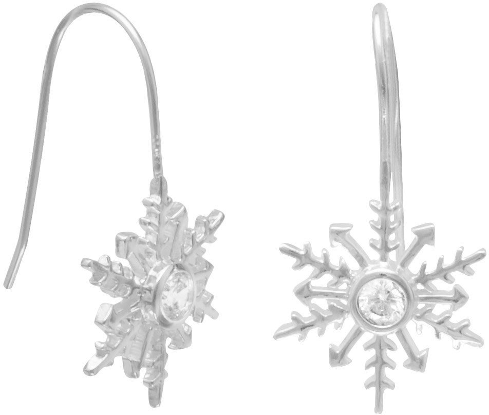 Polished CZ Snowflake Earrings on French Wire 925 Sterling Silver