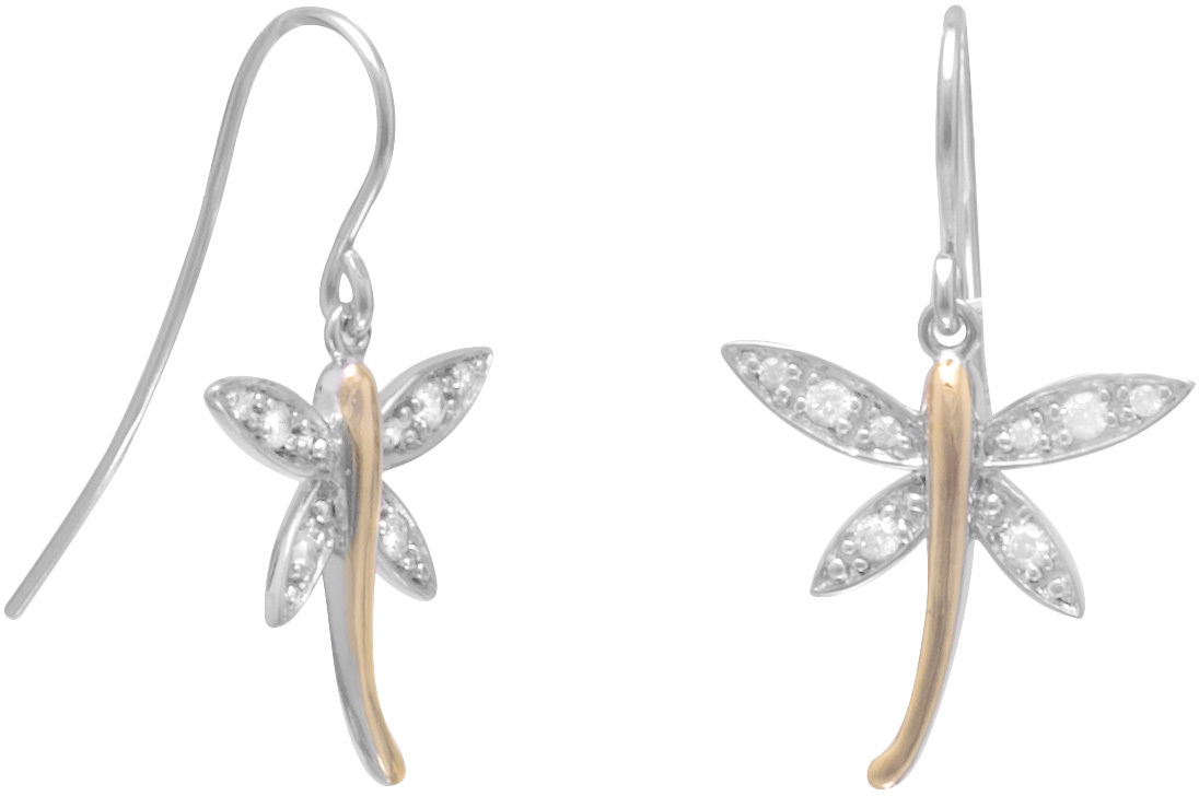 Rhodium Plated Silver/14K Gold Plated CZ Dragonfly Earrings on French Wire 925 Sterling Silver - DISCONTINUED