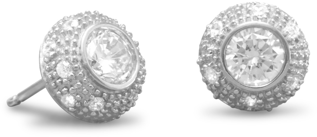 "Rhodium Plated 6mm (1/4"") Round CZ/Pave Side Post Earrings 925 Sterling Silver - DISCONTINUED"