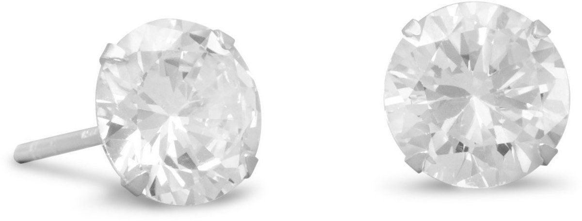 "8mm (1/3"") CZ Stud Earrings 925 Sterling Silver"
