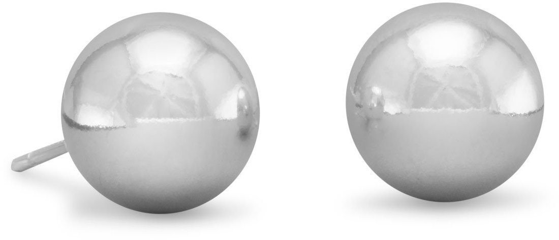 "10mm (3/8"") Ball Stud Earrings 925 Sterling Silver"