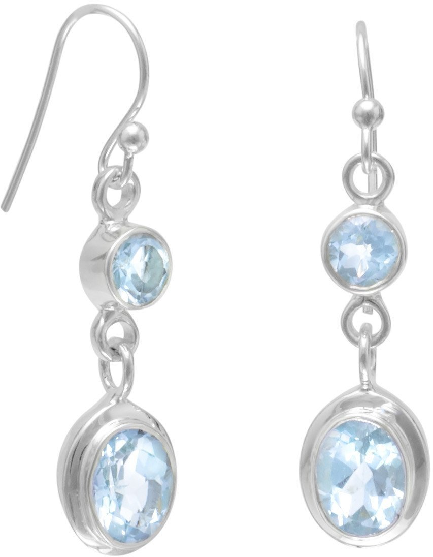 Round and Oval Blue Topaz Earrings on French Wire 925 Sterling Silver