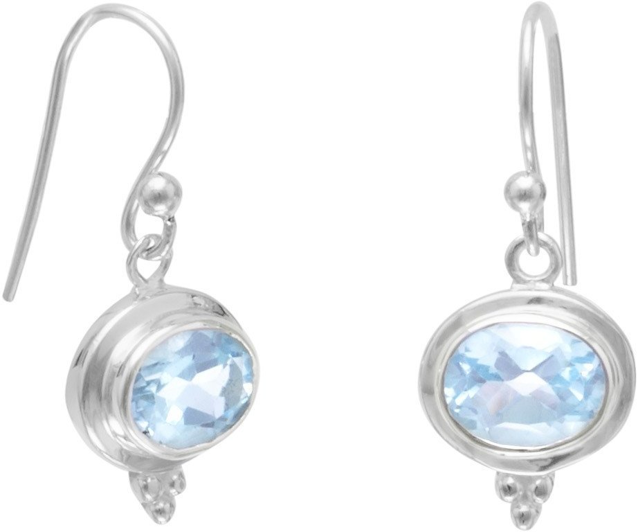 Oval Blue Topaz Earrings on French Wire 925 Sterling Silver