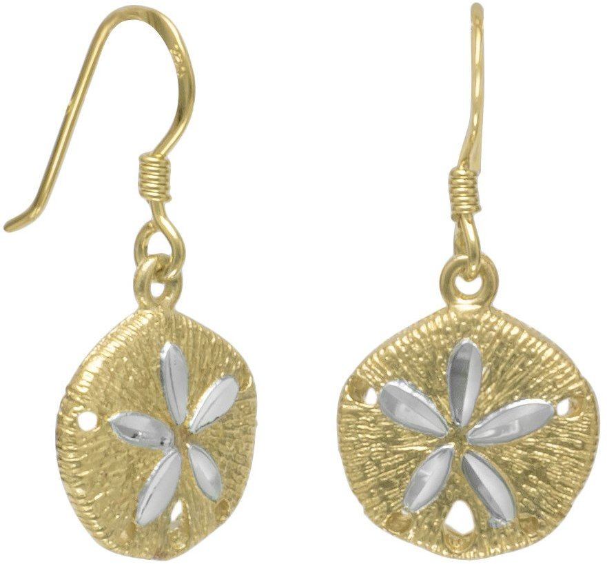 14 Karat Gold Plate Sand Dollar French Wire Earrings 925 Sterling Silver
