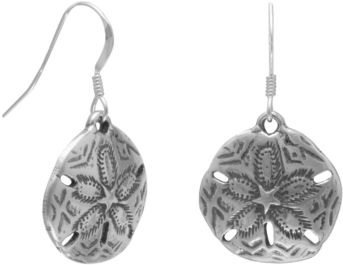 Oxidized Sand Dollar French Wire Earrings 925 Sterling Silver