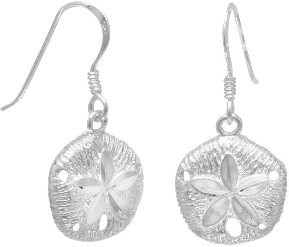 Diamond Cut Sand Dollar French Wire Earrings 925 Sterling Silver