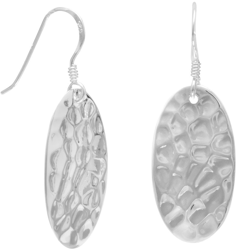 Small Oval Hammered French Wire Earrings 925 Sterling Silver