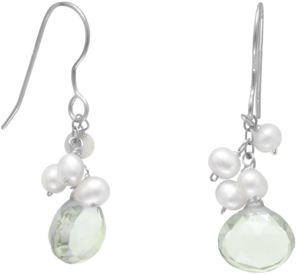 Green Amethyst and Cultured Freshwater Pearl French Wire Earrings 925 Sterling Silver
