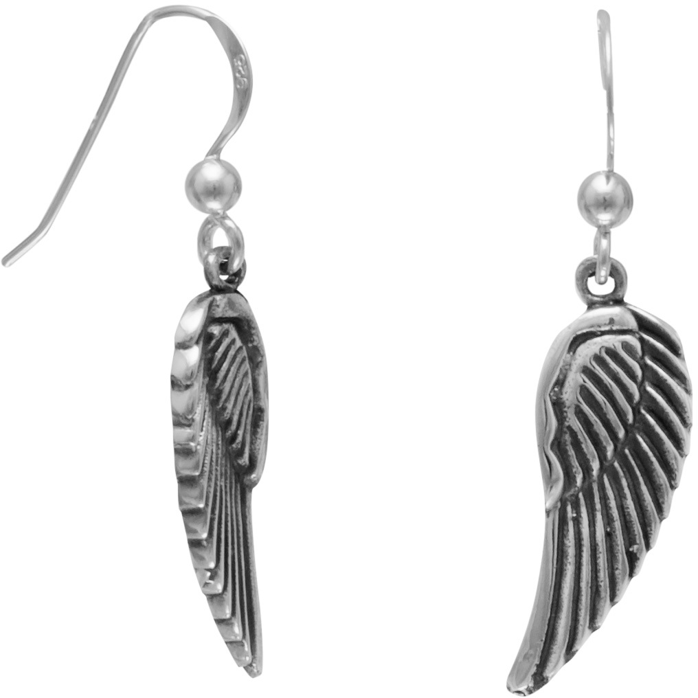 Oxidized Angel Wings French Wire Earrings 925 Sterling Silver