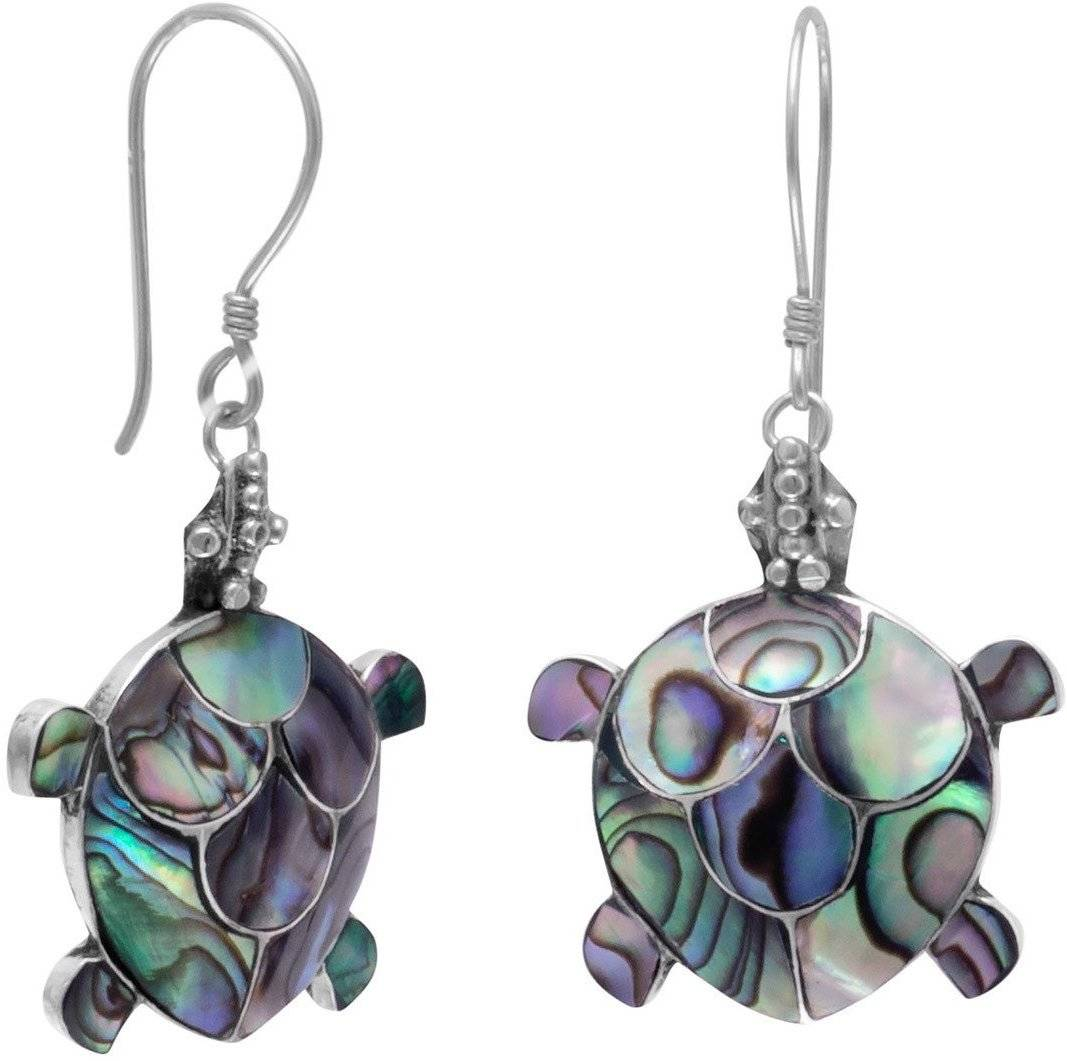 Paua Shell Turtle French Wire Earrings 925 Sterling Silver