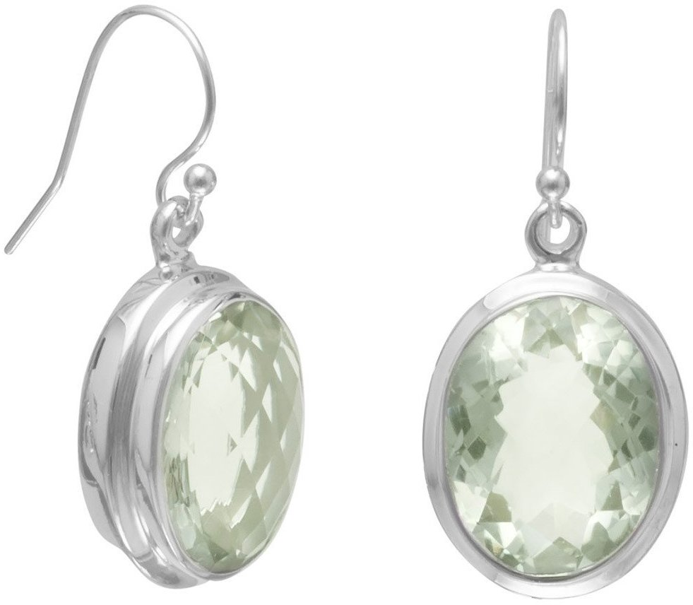 "12x16mm (0.47""x0.63"") Oval Green Amethyst French Wire Earrings 925 Sterling Silver"