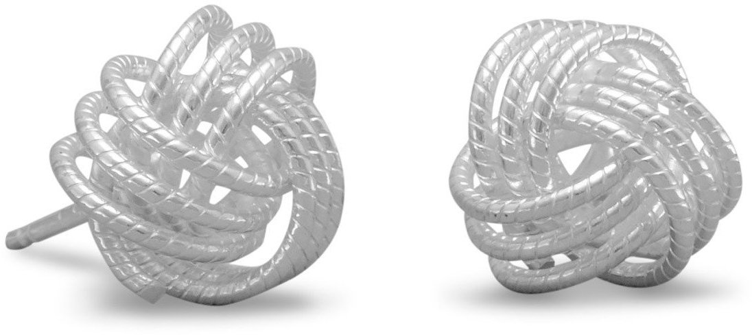 Small Twisted Love Knot Earrings 925 Sterling Silver