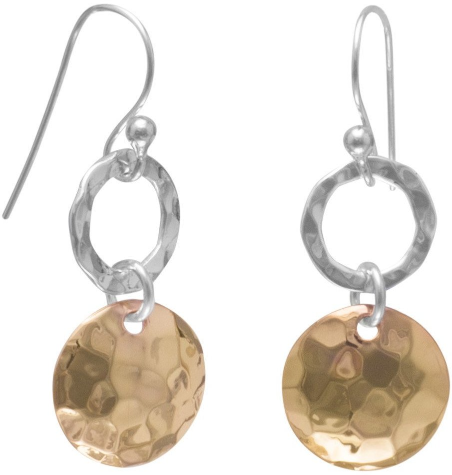 Sterling Silver and 14 Karat Rose Gold Plated Hammered French Wire Earrings
