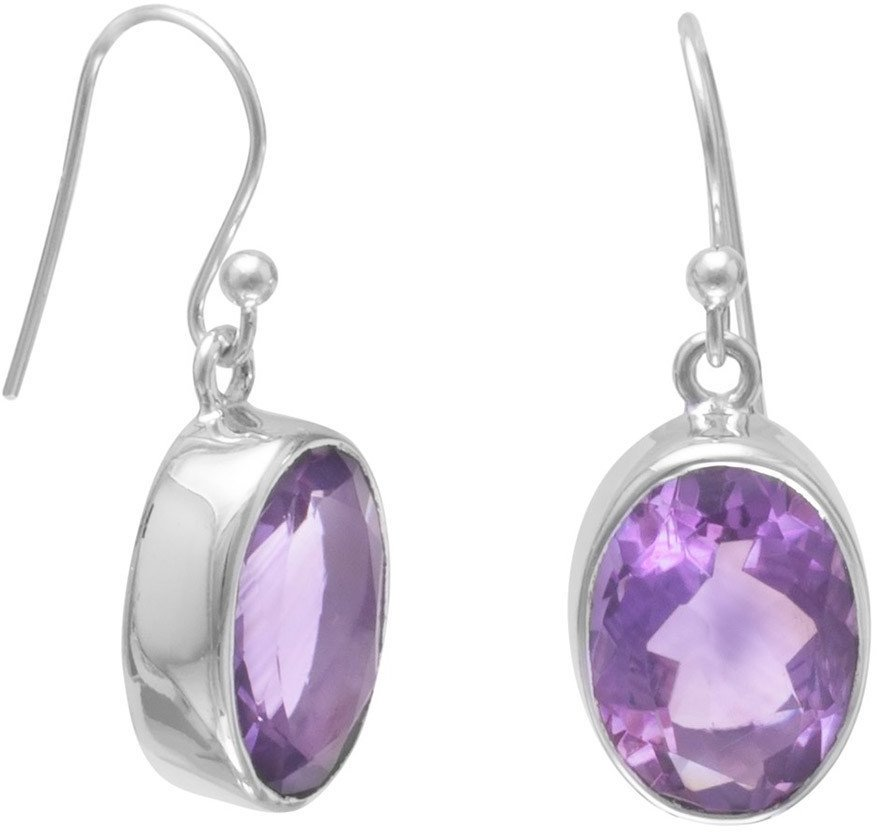 Faceted Amethyst French Wire Earrings 925 Sterling Silver