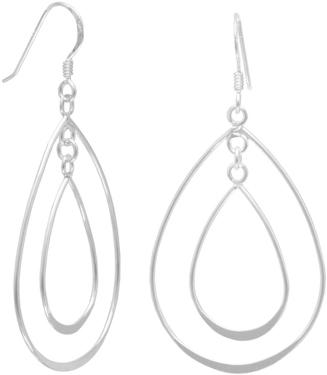 Double Pear Shape French Wire Earrings 925 Sterling Silver