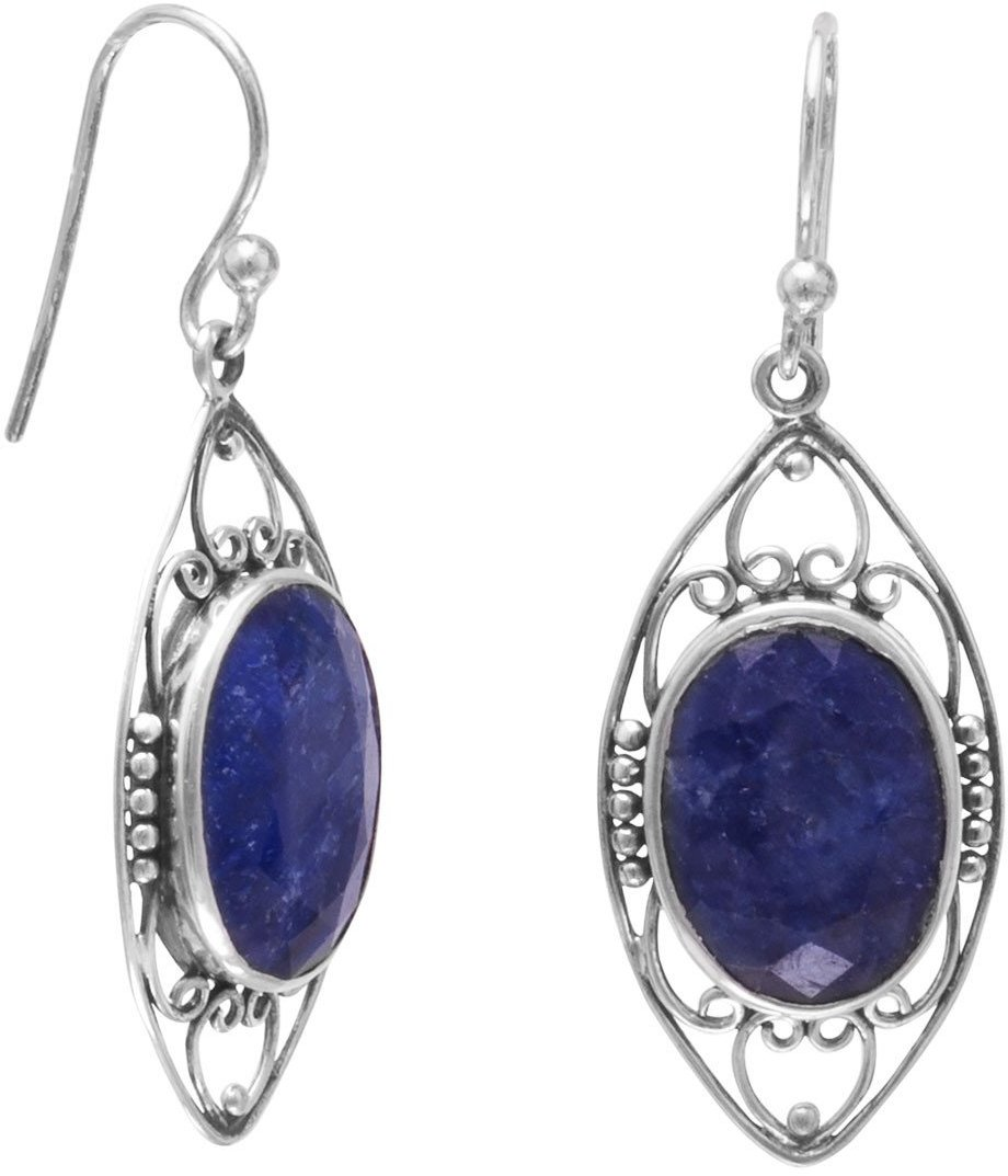 Oxidized Rough-Cut Sapphire French Wire Earrings 925 Sterling Silver