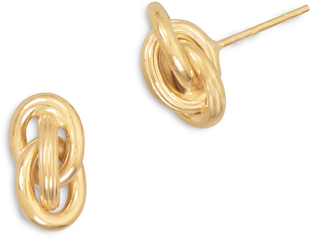14 Karat Gold Plated Earrings with Triple Link Knot Design 925 Sterling Silver