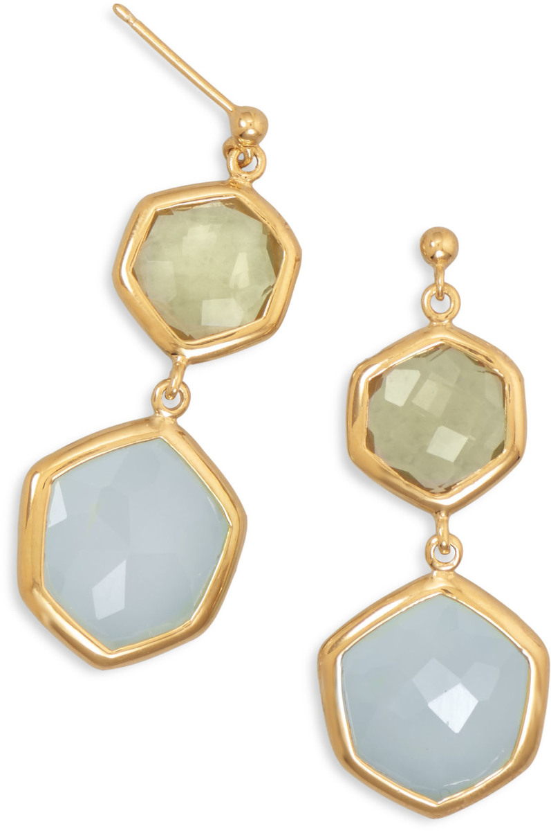14 Karat Gold Plated Quartz and Chalcedony Drop Earrings 925 Sterling Silver