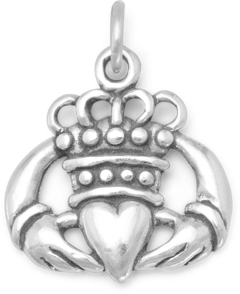 Oxidized Claddagh Charm 925 Sterling Silver