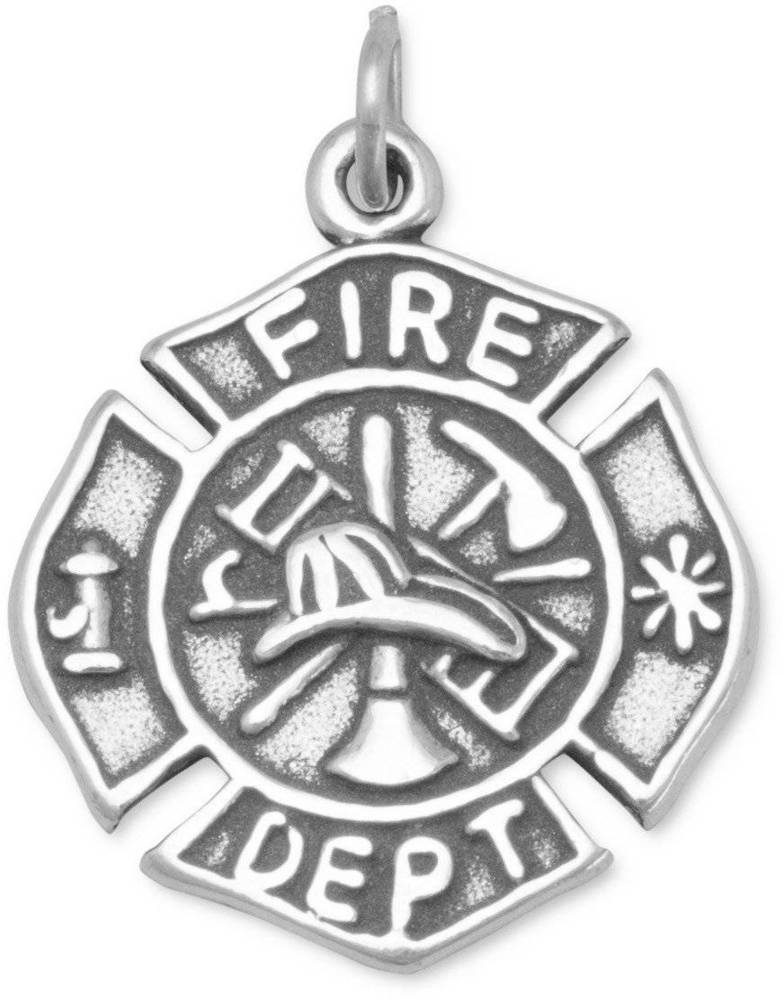 badge pendant necklace gold firefighter cross fd rose open maltese