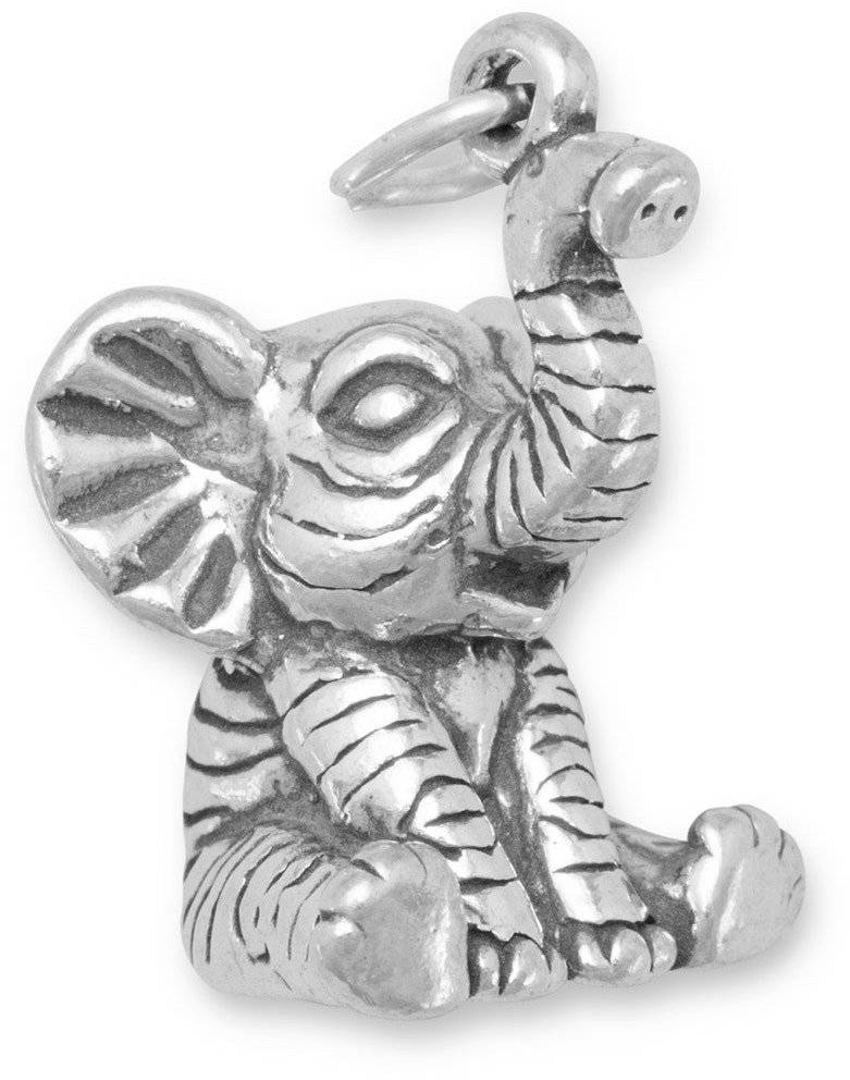 Sitting Baby Elephant Charm 925 Sterling Silver