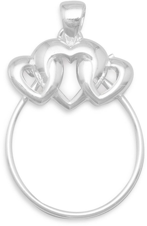 3 Heart Charm Holder Pendant 925 Sterling Silver